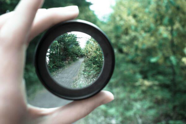 Linse mit Fokus